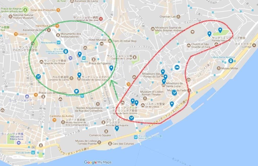 リスボン市内中心部MAP ルート