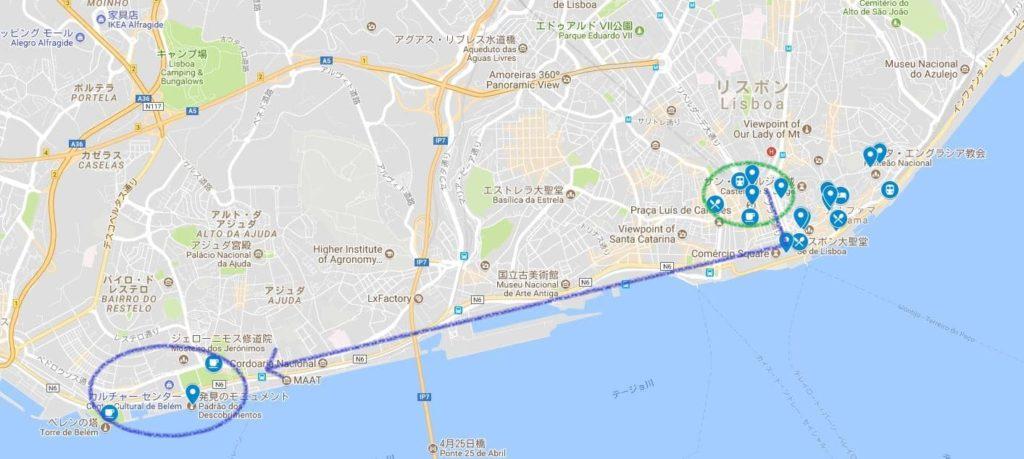 リスボン広域MAP ルート