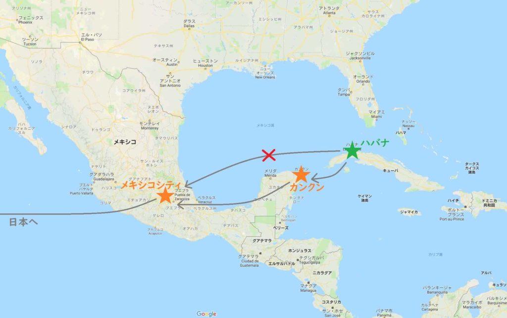 メキシコ・キューバ地図