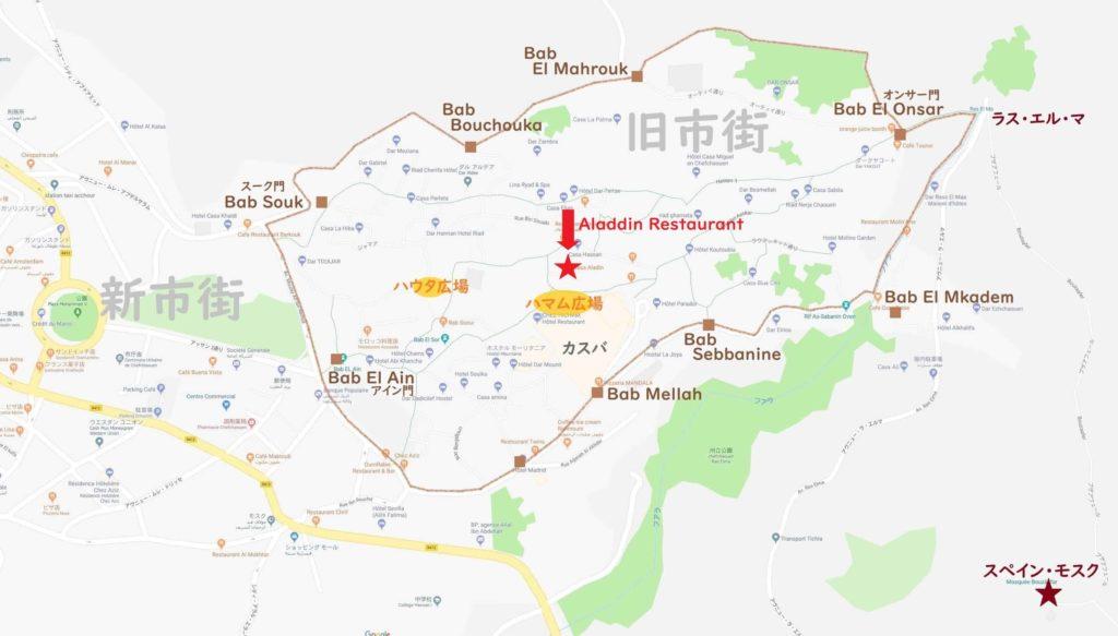 シャウエン地図(アラジンレストラン)