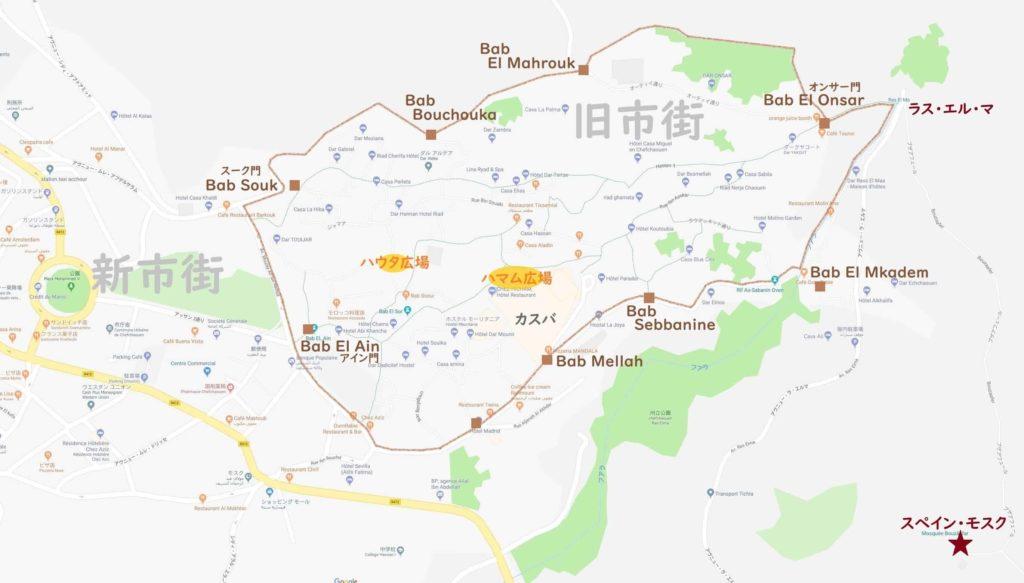 シャウエン地図(旧市街と新市街)