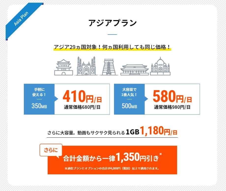 jetfi アジアプラン料金表(2019.8.1時点)