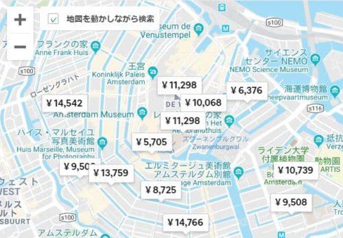 Airbnb 地図検索画面