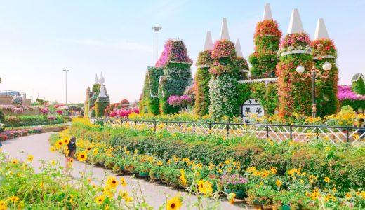 花で彩られたお城 / ミラクルガーデン / ドバイの写真素材