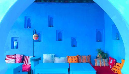 青いテラス / シャウエン / モロッコの写真素材
