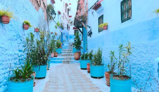 鉢植えと青のコラボレーション / シャウエン / モロッコの写真素材