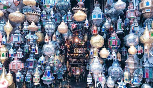 オシャレなモロッカンランプのお店 / マラケシュ / モロッコの写真素材