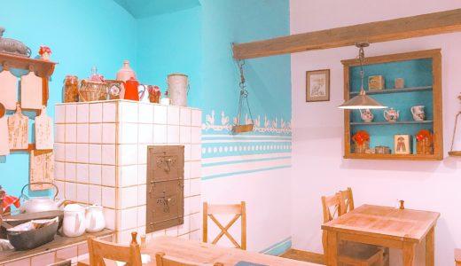 客席がキッチンのような内装のレストラン / クラクフ / ポーランドの写真素材