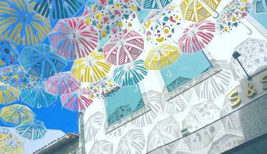 傘の影模様が映り込んだ壁 / アゲダ / ポルトガルの写真素材