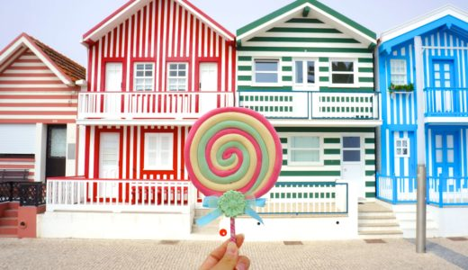 ストライプ柄の家とキャンディ / コスタ・ノバ / ポルトガルの写真素材