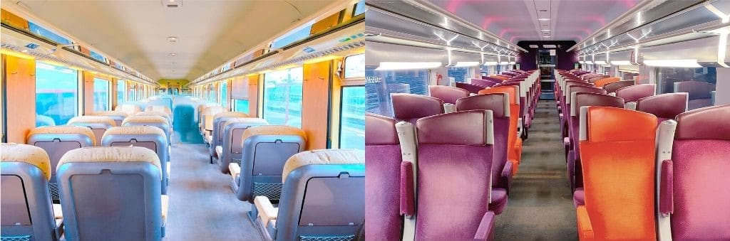ヨーロッパ鉄道の1等車と2等車